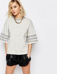 Трикотажная футболка-oversize с полосками adidas Originals - Бежевый