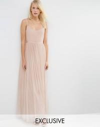 Платье макси Needle & Thread Giselle Ballet - Rose beige