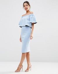 Платье миди с оборками и открытыми плечами ASOS - Бледно-синий