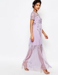 Платье макси с декоративной отделкой Boohoo Boutique - Сиреневый