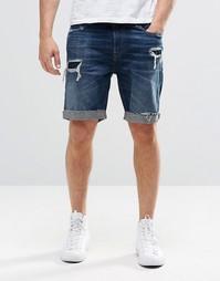 Состаренные джинсовые шорты Hollister - Темный синий