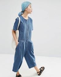 Свободный джинсовый комбинезон в полоску ASOS WHITE - Синий