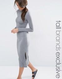 Удлиненное трикотажное платье с разрезами по бокам One Day Tall
