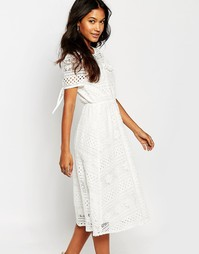 Кружевное платье миди Boohoo - Белый
