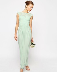 Платье макси с кружевным топом и плиссировкой ASOS WEDDING - Мятный