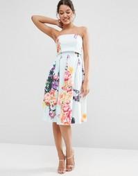 Платье-бандо для выпускного с отворотом и цветочным принтом ASOS
