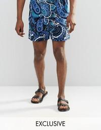 Фестивальные шорты с принтом пейсли Reclaimed Vintage - Темно-синий