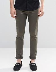 Супероблегающие брюки из хлопкового сатина цвета хаки ASOS