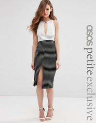 Платье-футляр колор блок в полоску ASOS PETITE - Черно-белый