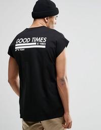 Oversize-футболка без рукавов с принтом ASOS - Черный