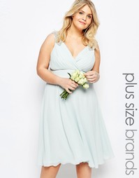 Платье миди для выпускного с отделкой на плечах TFNC Plus WEDDING