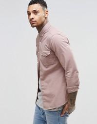 Розовая рубашка скинни в стиле милитари с длинными рукавами ASOS