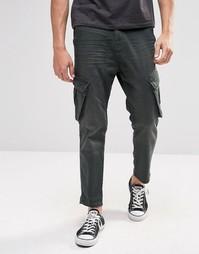 Укороченные джинсы слим цвета хаки с карманами-карго ASOS