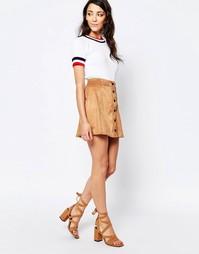 Трапециевидная мини-юбка из искусственной замши на пуговицах спереди G Glamorous