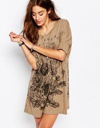 Платье-футболка с цветочным принтом Religion - Пыльный оливковый