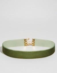 Короткое бархатное ожерелье ASOS - Хаки