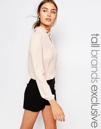 Блузка с длинными рукавами и горловиной на завязке Alter Tall - Blush