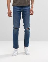Синие выбеленные узкие джинсы стретч с рваными коленками ASOS