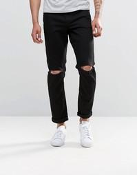 Черные узкие джинсы стретч с рваными коленками ASOS - Черный