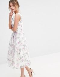 Атласное платье миди с цветочным принтом Chi Chi London Decadent