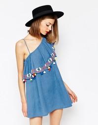 Платье на одно плечо с воланом и кисточками Piper Java - Periwinkle