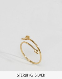 Позолоченное серебряное кольцо со стрелой ASOS - Золотой