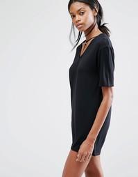 Платье-футболка с отделкой в восточном стиле Missguided - Черный