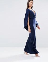 Платье макси с глубоким вырезом и накидкой Club L - Темно-синий