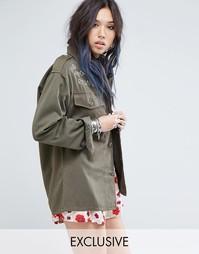 Oversize-пиджак в винтажном стиле с вышивкой Milk It - Хаки