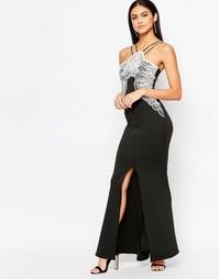 Платье макси с кружевной вставкой Lipsy - Черный