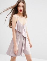 Приталенное платье мини с оборкой с одной стороны ASOS - Сиреневый