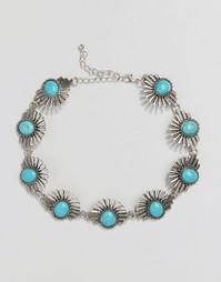 Ожерелье-чокер с бирюзовыми камнями Reclaimed Vintage