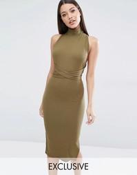 Платье-трансформер миди в рубчик Club L - Зеленый хаки