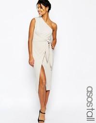Платье-футляр миди на одно плечо с драпировкой и узелком спереди ASOS