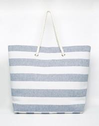 Пляжная сумка в темно‑синюю полоску South Beach
