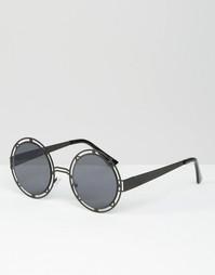 Черные солнцезащитные очки в круглой геометрической оправе ASOS