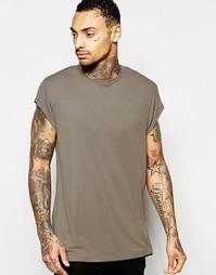 Коричневая длинная футболка с закругленным краем и короткими рукавами Asos