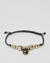 Веревочный браслет с черепами ASOS - Черный
