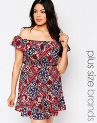 Платье с открытыми плечами и съемными бретельками NVME Plus - Мульти