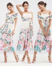 Платье-трансформер миди для выпускного с цветочным принтом ASOS