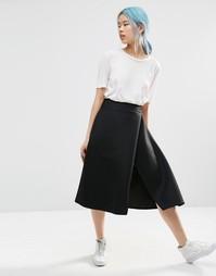 Фактурная юбка миди с разрезом ASOS WHITE - Черный