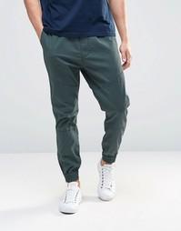 Синие тканые спортивные штаны с манжетами Hollister - Синий