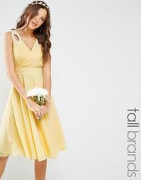 Платье миди для выпускного с отделкой на плечах TFNC Tall