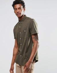 Трикотажная классическая рубашка цвета хаки с короткими рукавами ASOS