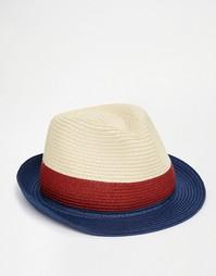 Соломенная плетеная шляпа в стиле колор блок ASOS - Естественный