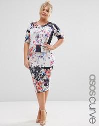Облегающее платье миди с цветочным принтом ASOS CURVE - Мульти