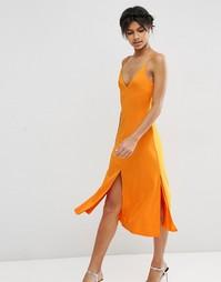 Платье-сорочка миди на тонких бретельках ASOS - Оранжевый