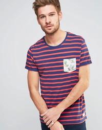 Полосатая футболка с тропическим принтом на кармане Esprit