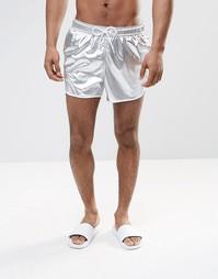 Короткие шорты для плавания серебристого цвета ASOS - Серебряный