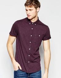 Бордовая трикотажная классическая рубашка с короткими рукавами ASOS